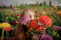 Angela in the Zinnias, Kerby, Oregon