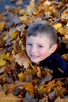Young boy in leaves Ashland OR