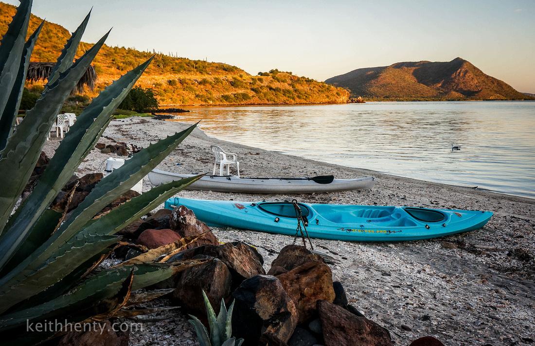 Kayaks along Bahia de Concepcion, Baja